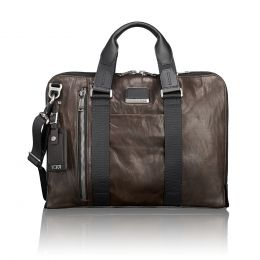 Alpha Bravo Aviano Slim Brief Leather by TUMI (Color: Dark Brown)