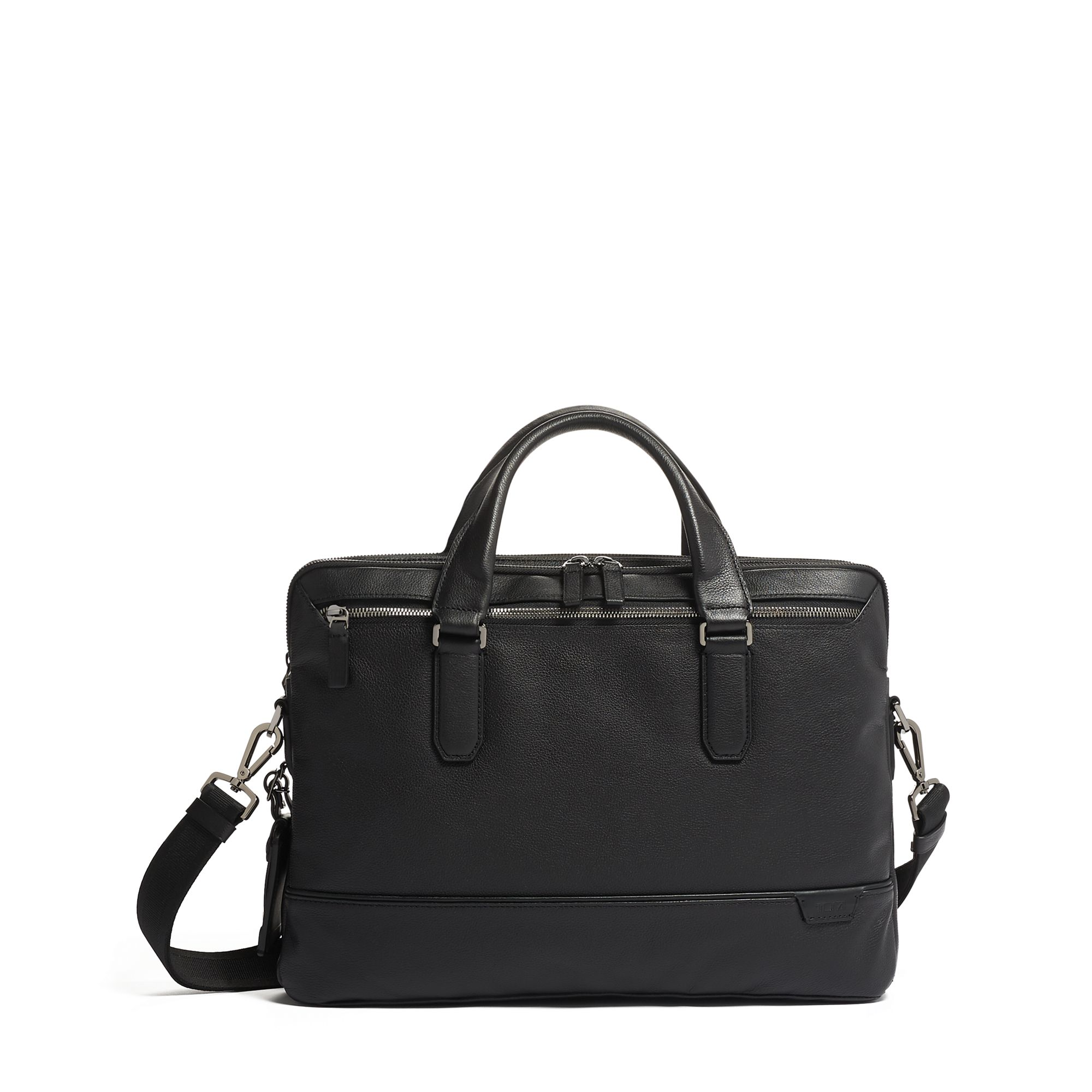 TUMI Harrison Sycamore Slim Brief Leather by TUMI (Color: Black)