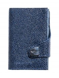 Sting Ray Leather Portemonnaie CLICK & SLIDE by TRU VIRTU® (Color: Sting Ray Blue/Titan)