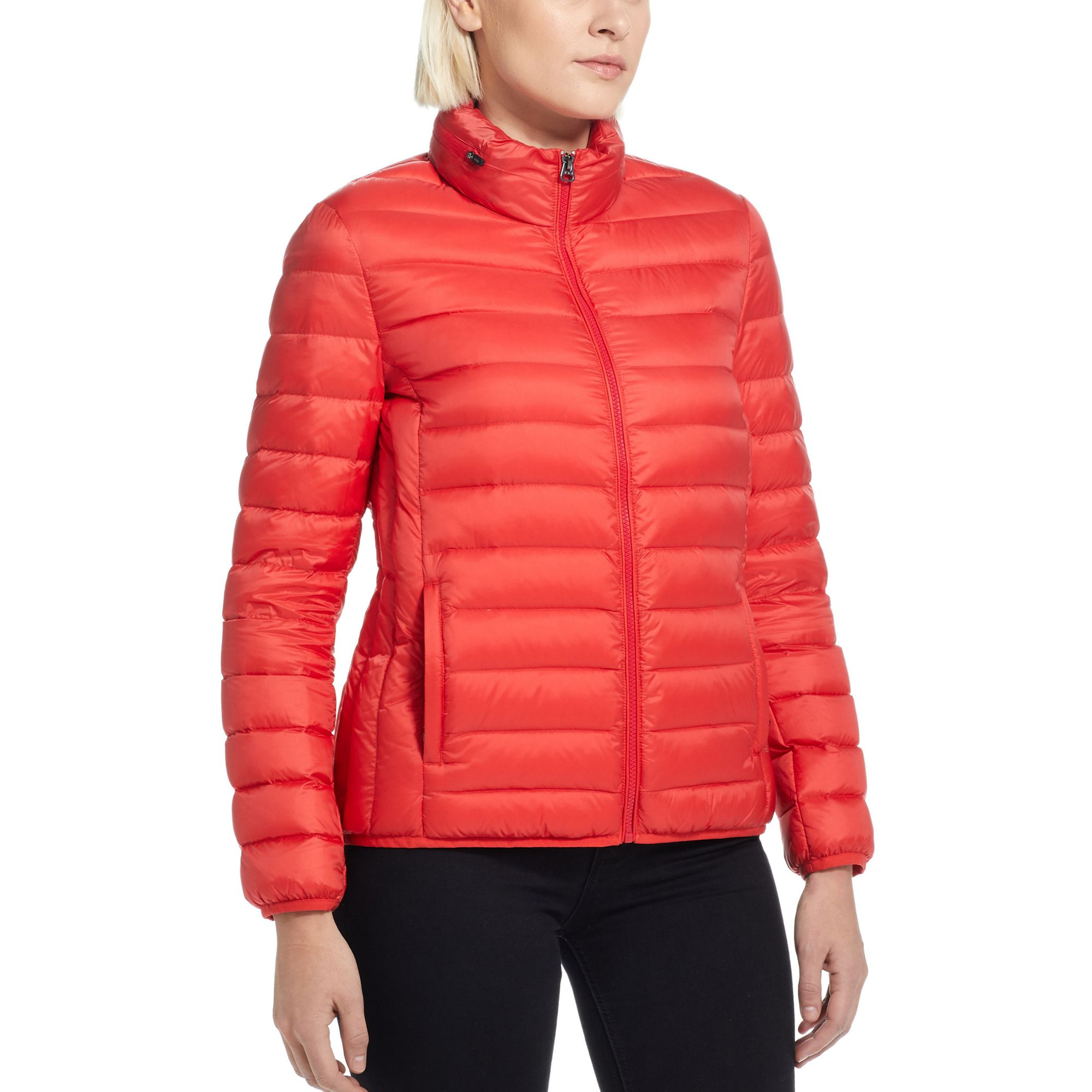 Outerwear Womens TUMIPAX Clairmont Packable Travel Puffer Jacket by TUMI (Color: Red, Size: XL)