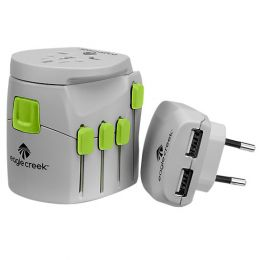 USB Universal Travel Adapter Pro by Eagle Creek (Color: Quarry Grey/Strobe)