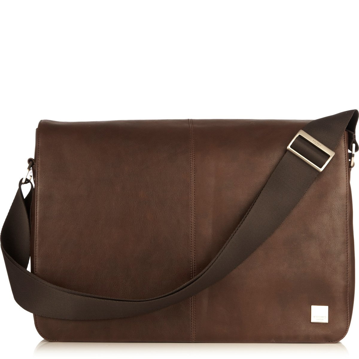 Bungo Messenger 15.6'' by Knomo (Color: Brown / Brushed Nickel Hardware)