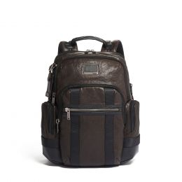 Alpha Bravo Nathan Expandable Backpack Leather by TUMI (Color: Dark Brown)