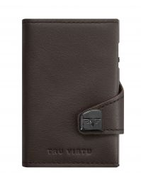Nappa Leather Wallet CLICK & SLIDE by TRU VIRTU® (Color: Nappa Brown/Silver)