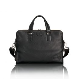 Harrison Seneca Slim Brief Leather by TUMI (Color: Black)