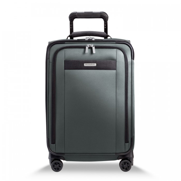 Transcend Tall Carry-On Zip Expandable Spinner by Briggs & Riley (Color: Slate)